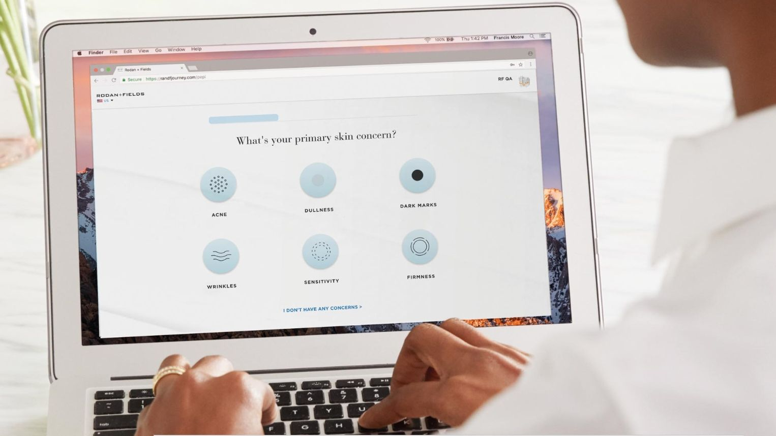 A user evaluating skin with R+F Solution Tool